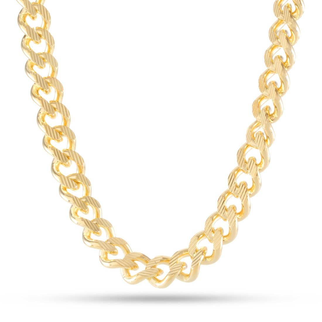 Chains - 10mm, 14K Gold Stainless Steel Mooncut Curb Chain -   jetcube
