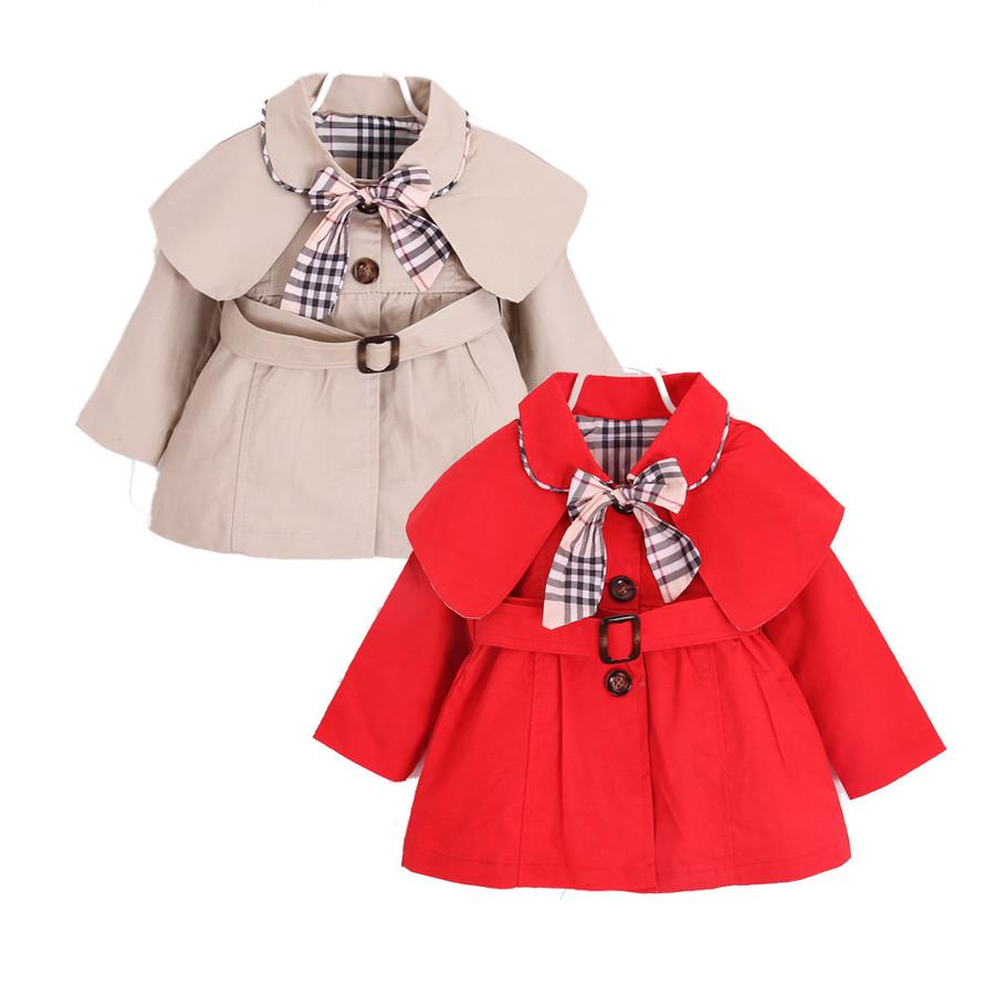 a56849a7d6bd cute causal baby girl trench coat solid belt European style coat for ...