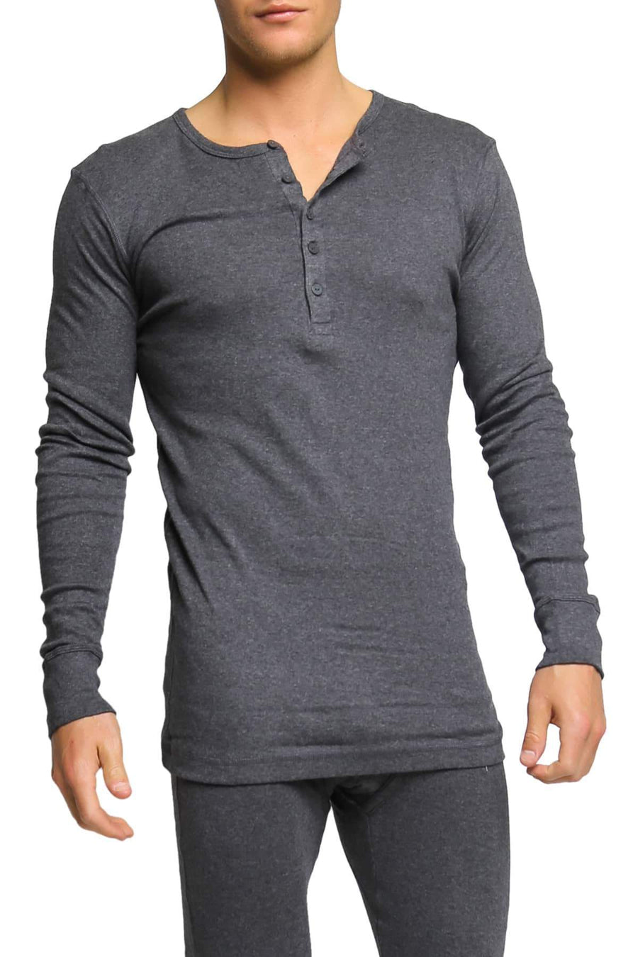 Shirts - 2(X)IST Charcoal Essential Long Sleeve Henley -   jetcube