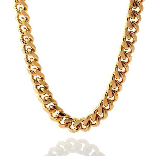 Chains - 10mm, .925 Sterling Silver Miami Cuban Chain -   jetcube