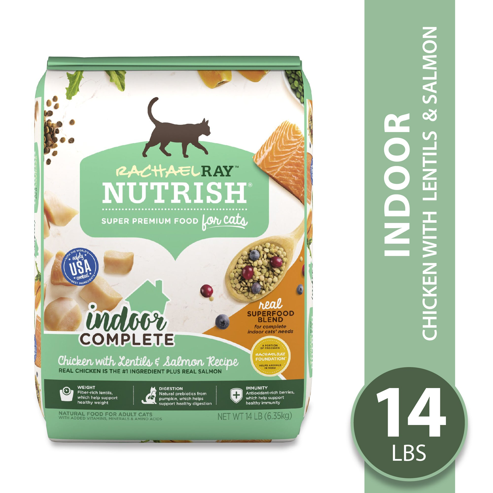 Rachael Ray Nutrish Indoor Complete Natural Premium Dry Cat Food, Chicken With Lentils & Salmon Recipe, 14 Lbs