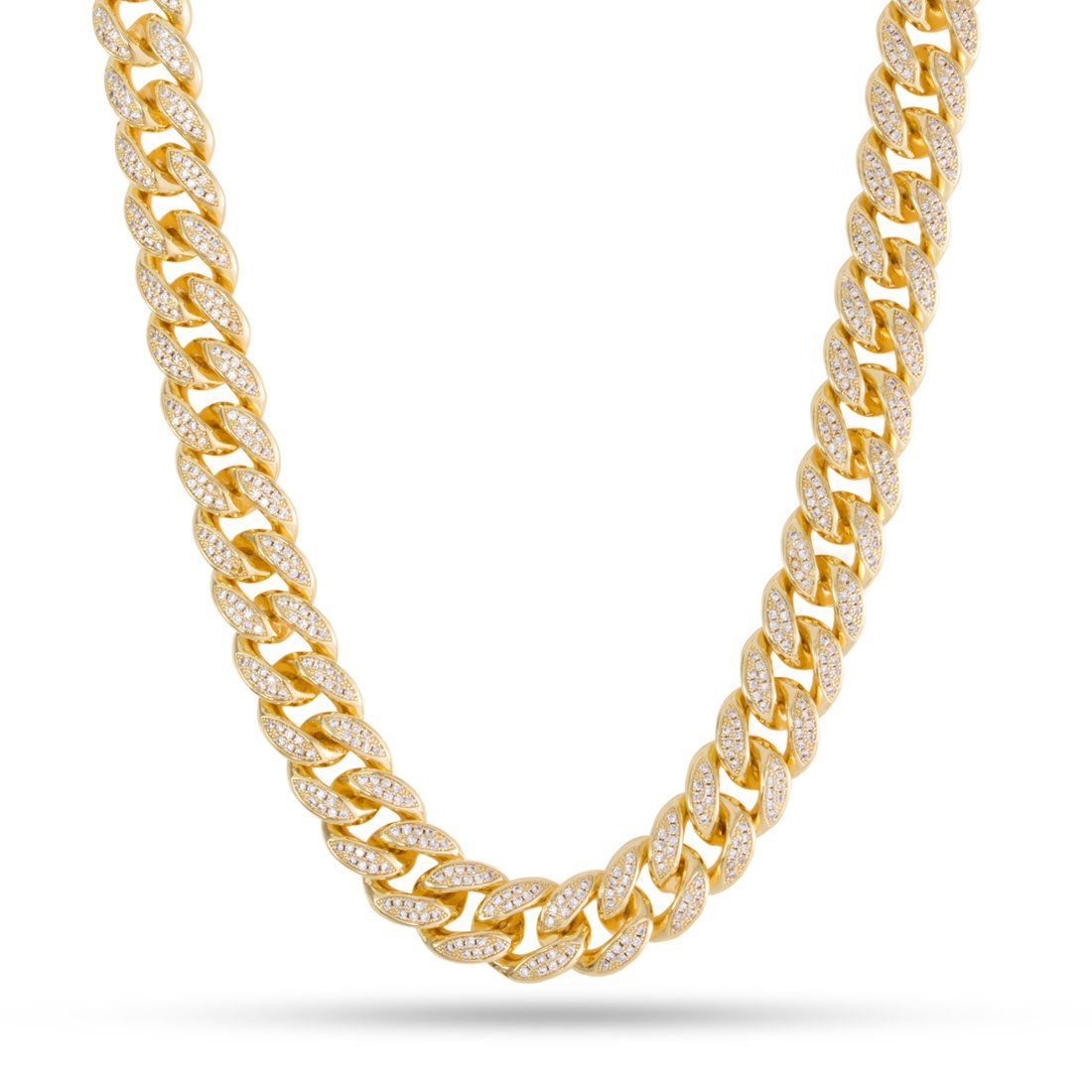 Chains - 12mm, 14k Gold CZ Miami Cuban Chain -   jetcube