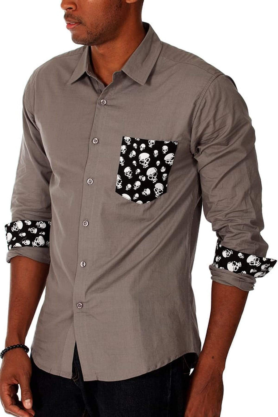 Shirts - 00 Nothing Grey Skullball Button-Up -   jetcube