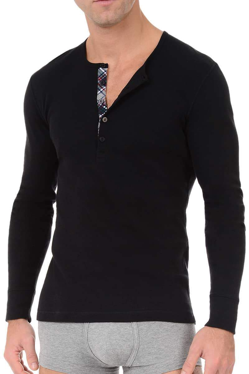 Shirts - 2(X)IST Black Tartan Long Sleeve Henley -   jetcube