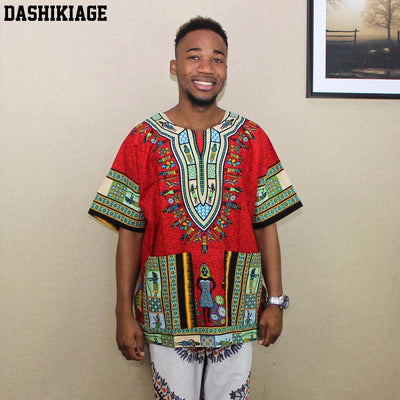 T-Shirts - (fast shipping) 2016 Newest Fashion Design African Traditional Print 100% Cotton Dashiki T-shirt for unisex -   jetcube