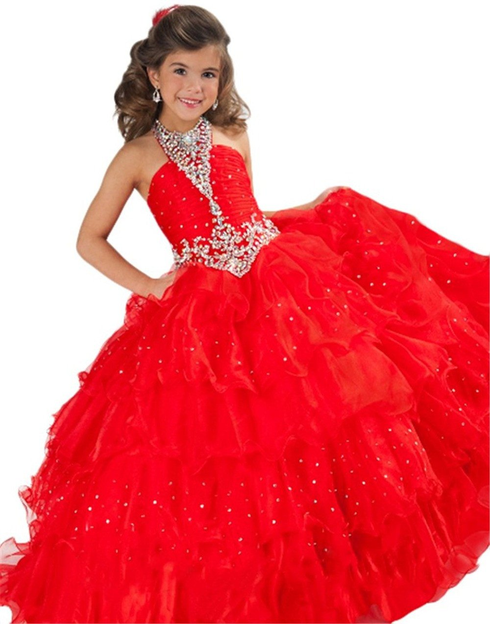 ca83fb5b7814 halter red pageant dresses for girls glitz kids prom dresses girls ball gown  party dress organza