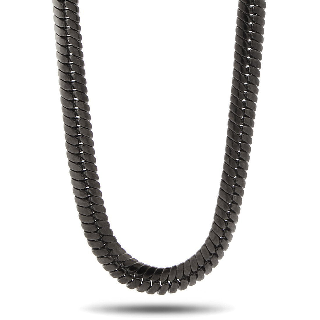 Chains - 10mm Thick Black Rhodium Herringbone Chain -   jetcube