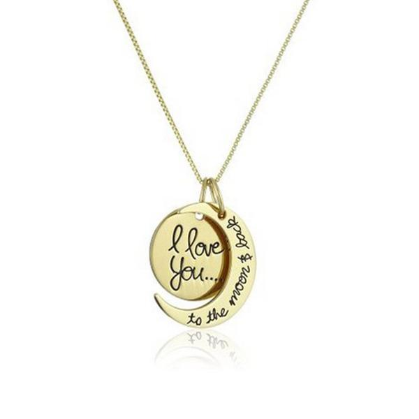 "Necklace - ""I Love You to the Moon & Back"" Pendant Necklace -   jetcube"