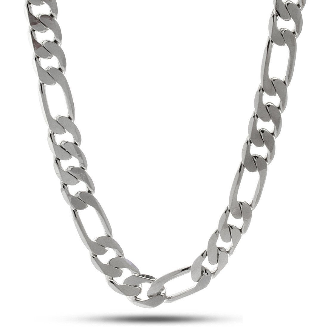 Chains - 10mm King Ice Rhodium Figaro Chain -   jetcube