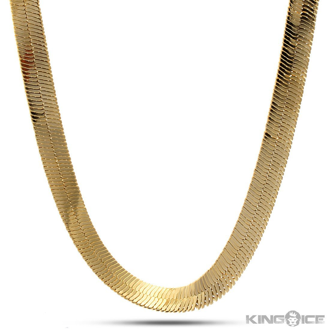 Sale - 10mm King Ice 14K Gold Herringbone Chain -   jetcube
