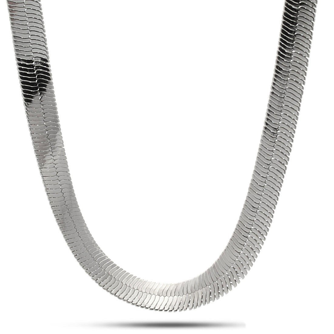 Sale - 10mm King Ice Rhodium Herringbone Chain -   jetcube