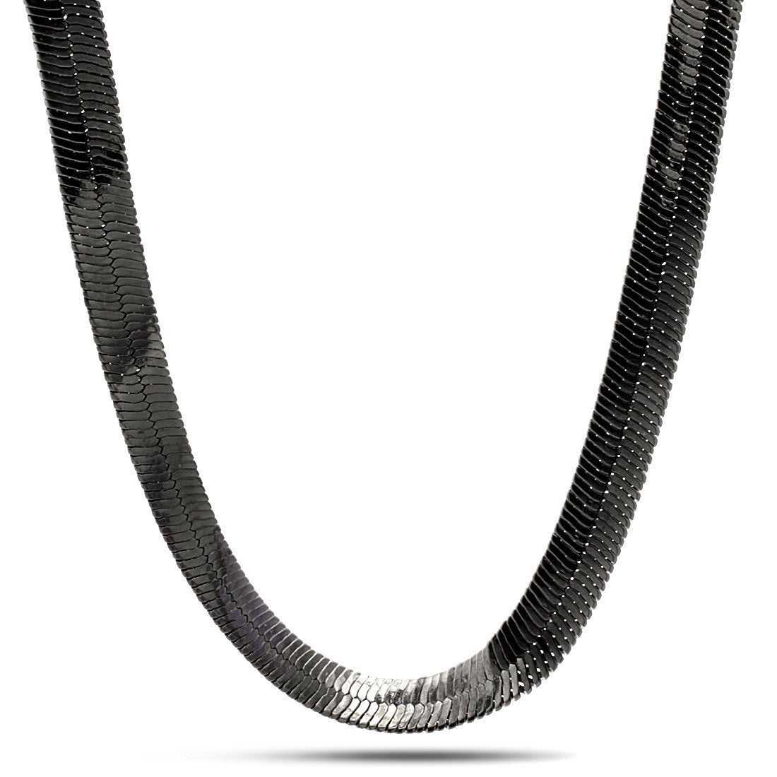 Sale - 10mm King Ice Black Rhodium Herringbone Chain -   jetcube