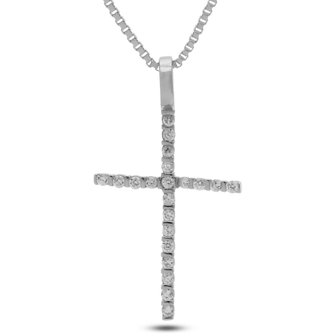 "Pendants - .925 Sterling Silver CZ ""Thin"" Cross Necklace -   jetcube"