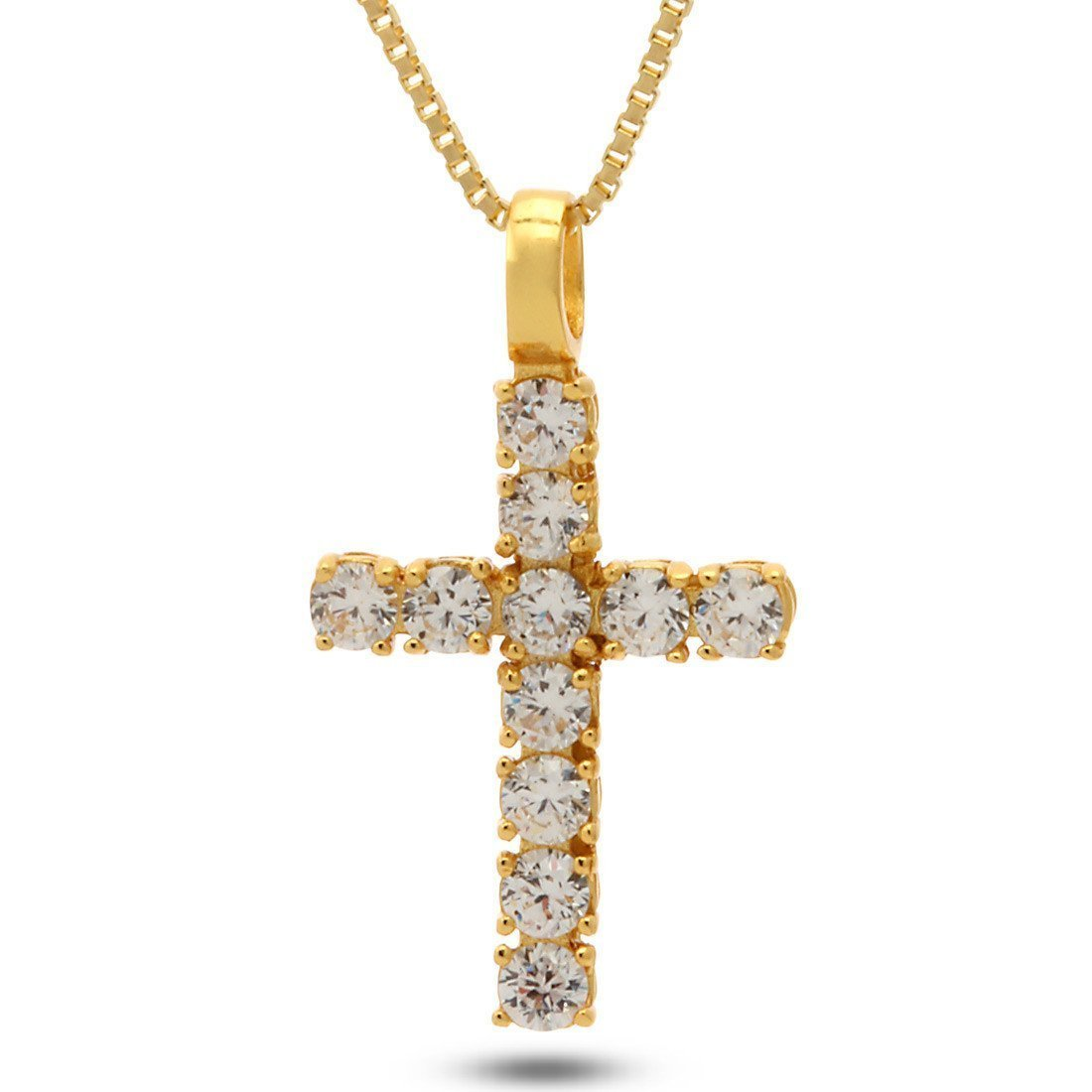 Pendants - .925 Sterling Silver Mini Cross CZ Necklace -   jetcube