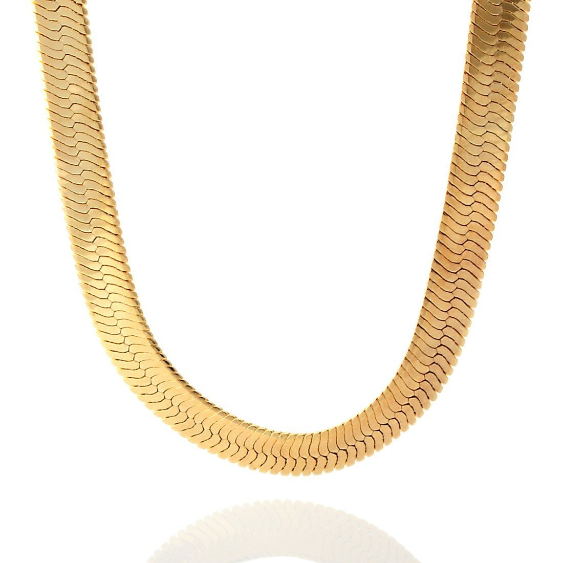 Chains - 10mm King Ice 14K Gold Herringbone Chain -   jetcube