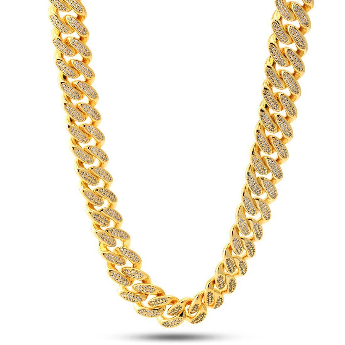 "Chains - 14K Gold 15mm ""Studded"" Miami Cuban Curb Chain -   jetcube"