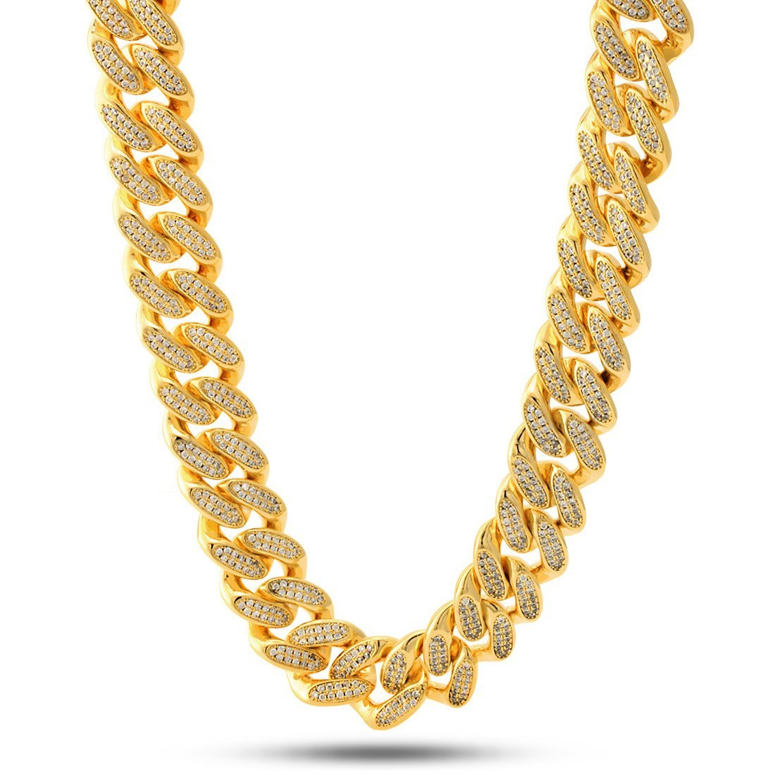 "Chains - 14K Gold 18mm ""Studded"" Miami Cuban Curb Chain -   jetcube"