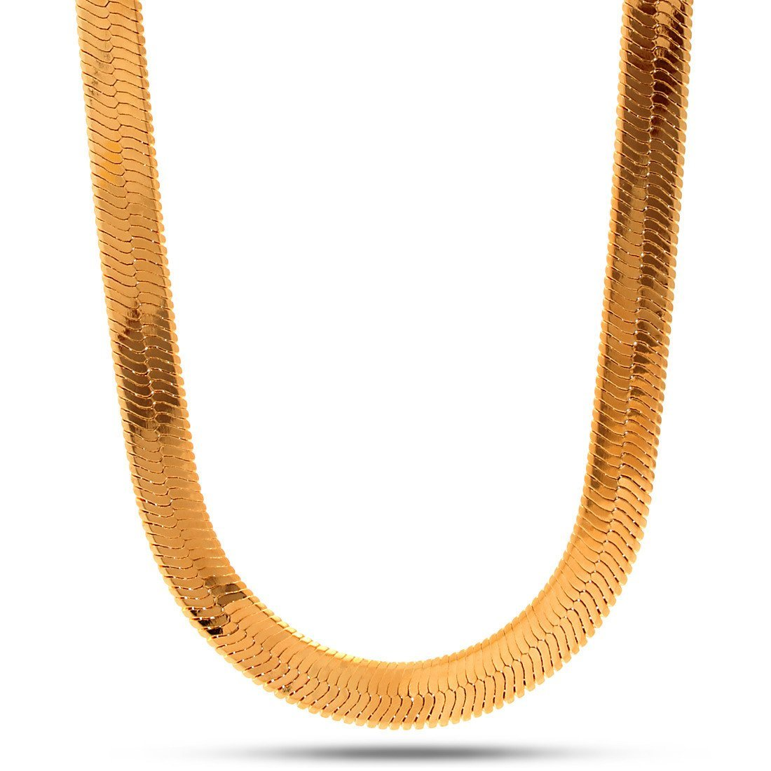 Chains - 10mm 18K Gold Herringbone Chain -   jetcube