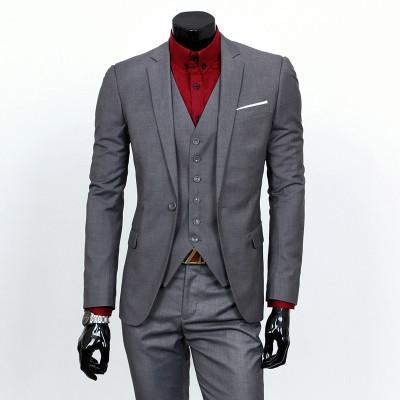 - ( jacket + vest + pants ) 2015 New spring brand men's slim fit business a three-piece suits / Male good groom dress /men Blazers - Dark grey 1 button / S  jetcube