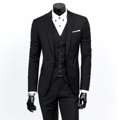 - ( jacket + vest + pants ) 2015 New spring brand men's slim fit business a three-piece suits / Male good groom dress /men Blazers - Black 1 button / S  jetcube