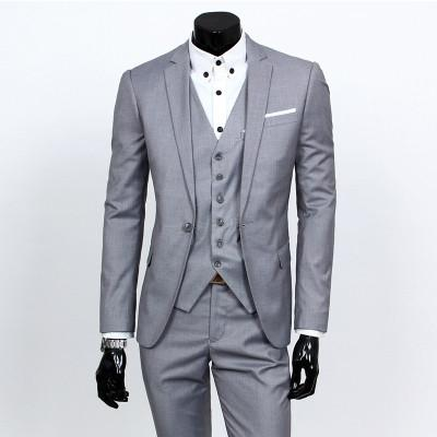 - ( jacket + vest + pants ) 2015 New spring brand men's slim fit business a three-piece suits / Male good groom dress /men Blazers - Light grey 1 button / S  jetcube