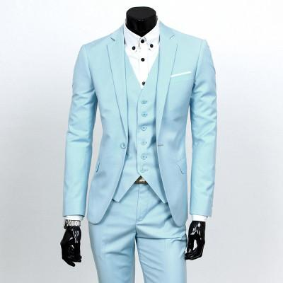 - ( jacket + vest + pants ) 2015 New spring brand men's slim fit business a three-piece suits / Male good groom dress /men Blazers - Light blue 1 button / S  jetcube