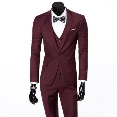 - ( jacket + vest + pants ) 2015 New spring brand men's slim fit business a three-piece suits / Male good groom dress /men Blazers - Dark red 1 button / S  jetcube