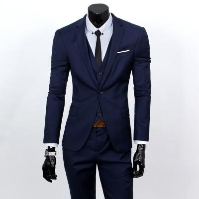 - ( jacket + vest + pants ) 2015 New spring brand men's slim fit business a three-piece suits / Male good groom dress /men Blazers - Navy 1 button / S  jetcube