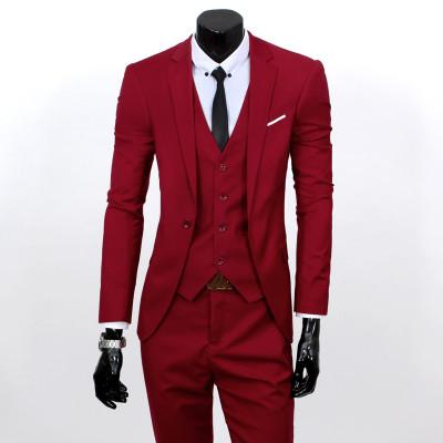 - ( jacket + vest + pants ) 2015 New spring brand men's slim fit business a three-piece suits / Male good groom dress /men Blazers - Wine red 1 button / S  jetcube