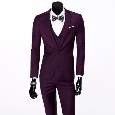 - ( jacket + vest + pants ) 2015 New spring brand men's slim fit business a three-piece suits / Male good groom dress /men Blazers - Purple 1 button / S  jetcube