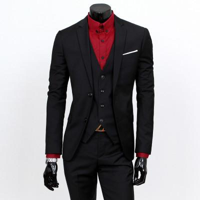 - ( jacket + vest + pants ) 2015 New spring brand men's slim fit business a three-piece suits / Male good groom dress /men Blazers - Black 2 button / S  jetcube
