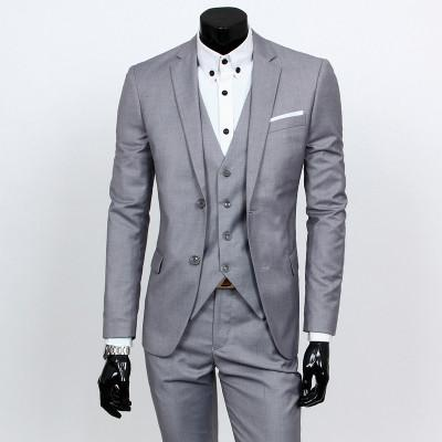 - ( jacket + vest + pants ) 2015 New spring brand men's slim fit business a three-piece suits / Male good groom dress /men Blazers - Light grey 2 button / S  jetcube