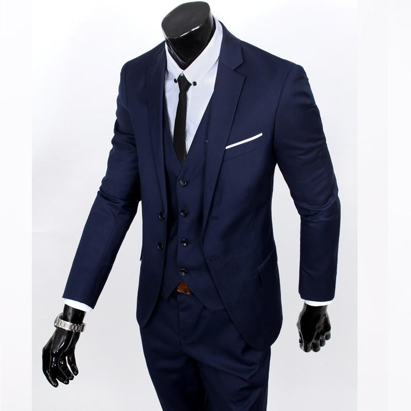 - ( jacket + vest + pants ) 2015 New spring brand men's slim fit business a three-piece suits / Male good groom dress /men Blazers - Navy 2 button / S  jetcube