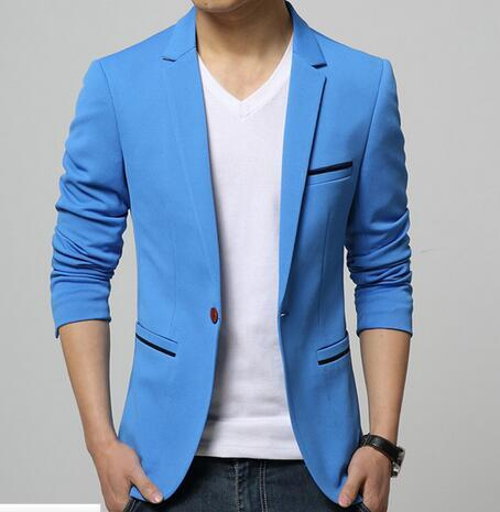 Mens Korean slim fit fashion cotton blazer Suit Jacket black blue beige  plus size M to 7032b9a52