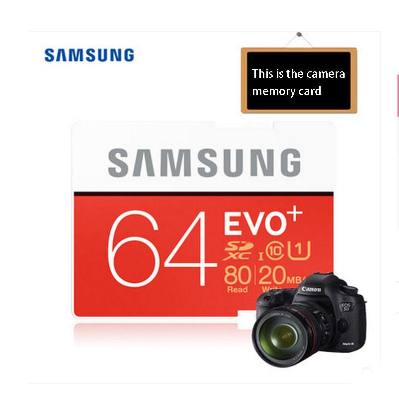- 100% Original Samsung EVO+16GB/32GB/64GB SD Card Class10  Flash Memory Card Max up 80MB/s High Speed Camera SD Cards Camcorder -   jetcube