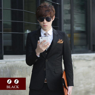 - (Jacket+Pant+Tie) Luxury Men Wedding Suit Male Blazers Slim Fit Suits For Men Costume Business Formal Party Blue Classic Black - 2 black / XS  jetcube