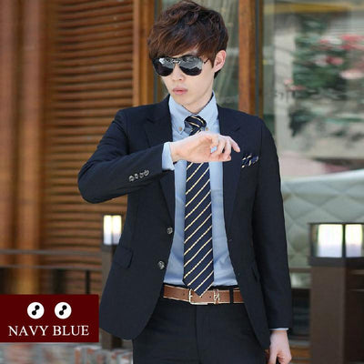 - (Jacket+Pant+Tie) Luxury Men Wedding Suit Male Blazers Slim Fit Suits For Men Costume Business Formal Party Blue Classic Black - 2 navy blue / XS  jetcube