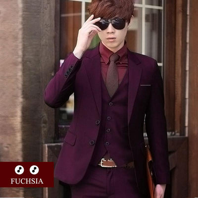 - (Jacket+Pant+Tie) Luxury Men Wedding Suit Male Blazers Slim Fit Suits For Men Costume Business Formal Party Blue Classic Black - 2 fuchsia / XS  jetcube
