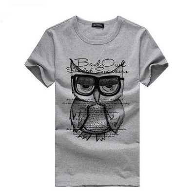 2016 New Summer Fashion Men T Shirt Boy Short Sleeve Cotton Owl Printing Tees Shirts Casual T-Shirt Male Tops Shirt Clothes  dailytechstudios- upcube