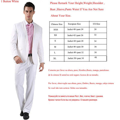 - (Jacket +Pant )2016 Spring Formal Suit  Slim Custom Fit Tuxedo Brand Fashion Bridegroon Men's Business Dress Suit Blazers B0999 - 1 button white / XS  jetcube