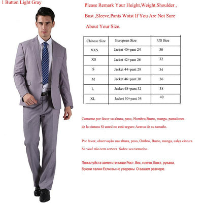 - (Jacket +Pant )2016 Spring Formal Suit  Slim Custom Fit Tuxedo Brand Fashion Bridegroon Men's Business Dress Suit Blazers B0999 - 1 button Light grey / XS  jetcube