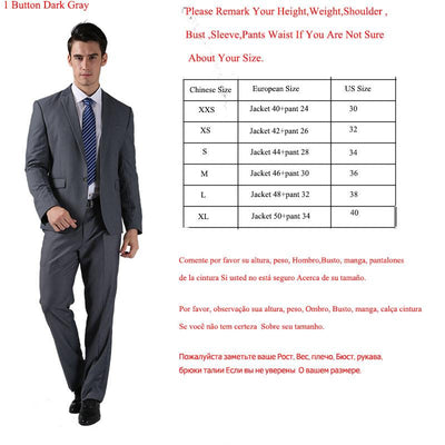 - (Jacket +Pant )2016 Spring Formal Suit  Slim Custom Fit Tuxedo Brand Fashion Bridegroon Men's Business Dress Suit Blazers B0999 - 1 button dark grey / XS  jetcube