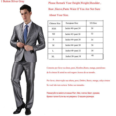 - (Jacket +Pant )2016 Spring Formal Suit  Slim Custom Fit Tuxedo Brand Fashion Bridegroon Men's Business Dress Suit Blazers B0999 - 1 button silver grey / XS  jetcube