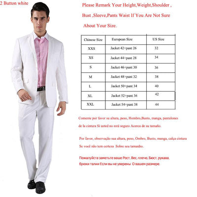 - (Jacket +Pant )2016 Spring Formal Suit  Slim Custom Fit Tuxedo Brand Fashion Bridegroon Men's Business Dress Suit Blazers B0999 - 2 button white / XS  jetcube