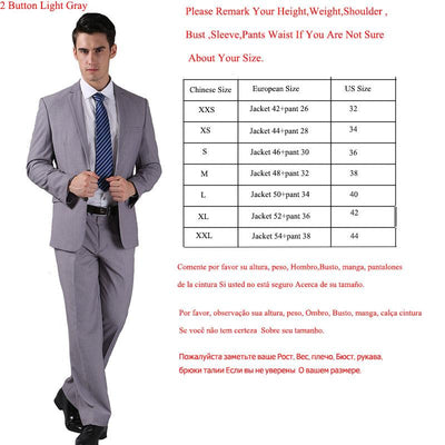 - (Jacket +Pant )2016 Spring Formal Suit  Slim Custom Fit Tuxedo Brand Fashion Bridegroon Men's Business Dress Suit Blazers B0999 - 2 button Light grey / XS  jetcube
