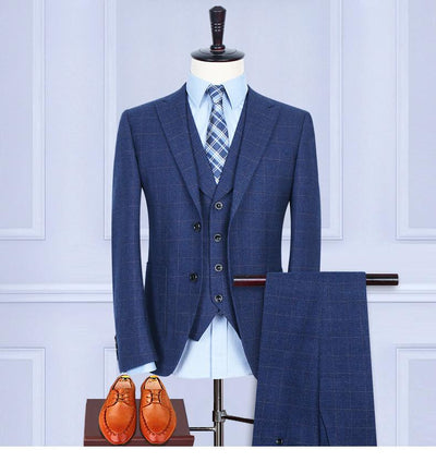 - (Jacket+Pants+Vest) Wool Blue Herringbone Retro gentleman style custom made Men's suits tailor suit Blazer suits for men -   jetcube