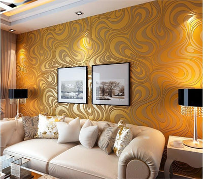 - 0.7m*8.4m wallpaper rolls Papel de parede Sprinkle gold murals damask wall paper roll modern  stereo  3D  mural wall paper roll - Yellow / 840cm L x 70cm W  jetcube