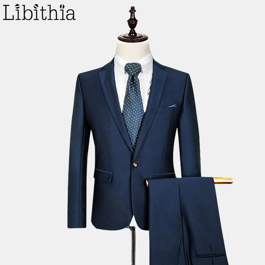 - (Jacket + Pant) Men Wool Suit Wedding Dress Costume Homme Mens Suits With Pants Terno Slim Fit Masculino Clothing Male Blue E541 -   jetcube