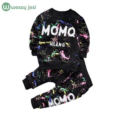 - 0-2T Baby girl clothes winter Spring Fashion printing graffiti Newborn baby boy clothing Set Girl Long Sleeve Infant Clothing -   jetcube