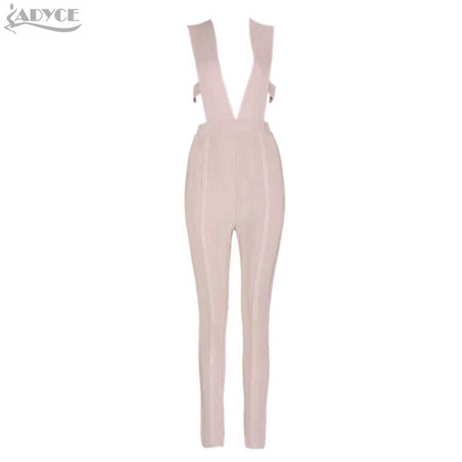 328aed422a 2016 new summer hottest khaki capris knitted skinny party deep V neck  plunge bodycon elegant rompers